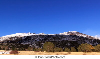 Slope of Mount Etna. Sicily, Italy. Time Lapse