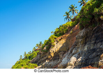 Slope of the mountain on the coast Varkala, Kerala. India