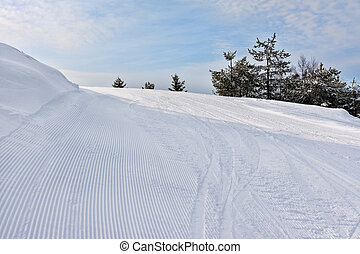 Slope on the skiing resort Rovaniemi, Finland - View on...