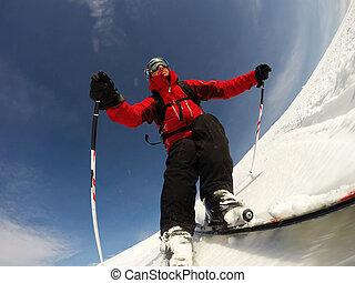 slope., ski, hoog, beurt, presteert, snelheid, skier