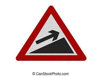 slope'., zeichen, 'upward, realistisch, darstellen, ...