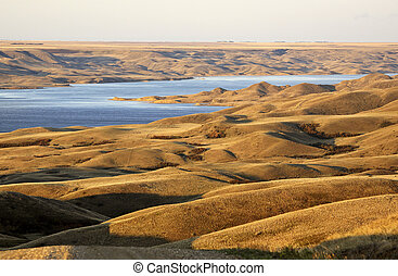 Slopes and hills overlooking Lake Diefenbaker