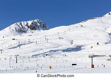 Slopes and lifts at ski resort in Italy, Alps
