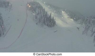 Slopes for Downhill Skiing - Aerial shot of slopes for...