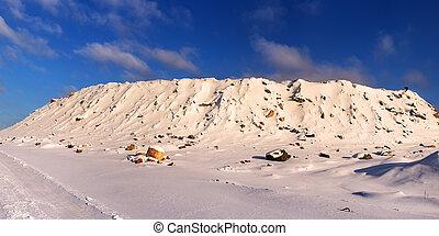 stone quarry under the snow