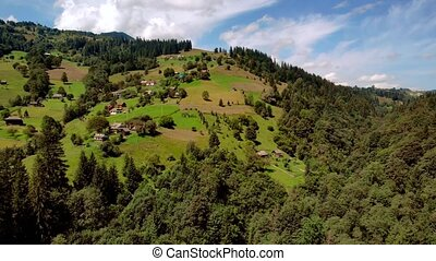 Slopes of mountain covered with forests, aerial view.