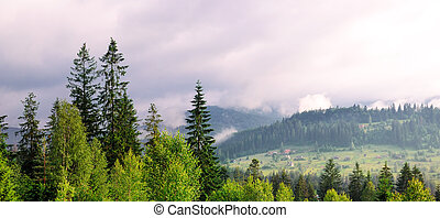 Slopes of mountains and clouds in the evening sky. Wide photo.