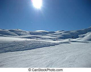 slopes on a sunny winter day