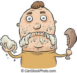 Sloppy Eating - A cartoon man eating like a slob.
