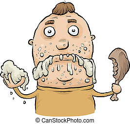 Sloppy Eating - A cartoon man eating like a slob.