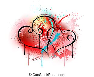 Sloppy heart drawing - Sloppy drawing of two hearts, drawn ...