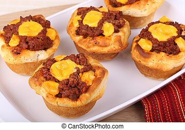 Sloppy Joe Cups - Barbecue hamburger with cheese in a...