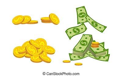 Sloppy mountain banknotes coin cartoon set vector - Sloppy ...