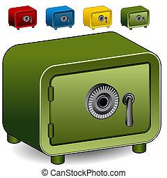 slot, brandkast, combinatie, pictogram