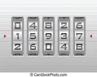 slot, combinatie, zilver, achtergrond, getal