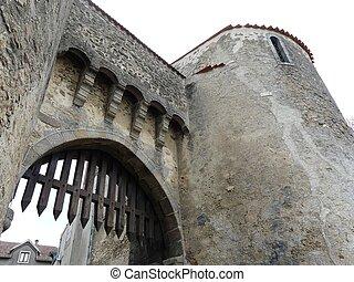 slot, indgang, låge
