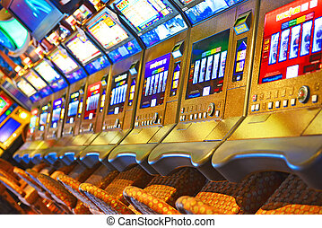 A lot of slot machine in the casino.