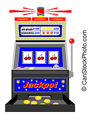 A winning slot machine with triple cherries