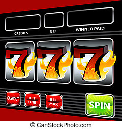 Slot Machine - An image of a flaming lucky seven slot...