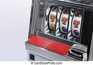 Slot machine and jackpot three seven on light background