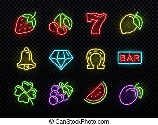 Slot machine bright neon vector symbols. Casino light gambling icons