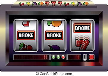 Illustration of a slot machine with three reels, slot machine symbols and the lettering BROKE. Isolated vector on white background.