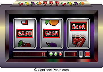 Slot Machine Cash - Illustration of a slot machine with...