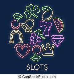 Slot machine casino gambling games neon symbols
