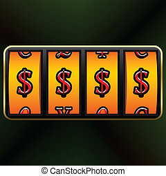 slot machine - currency jackpot against white background,...