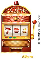 Slot machine with golden coins