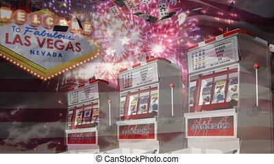 Slot machine falling on grapes while game cards falling down and fireworks goes off against american
