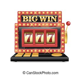 Slot machine for casino, lucky seven in gambling game isolated on white. Jackpot slot big win casino machine. Vector one arm bandit.