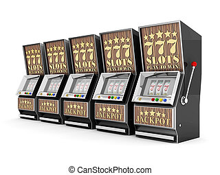 slot machine, gamble machine on a white background
