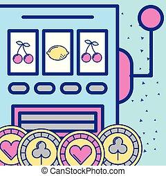 slot machine gambling casino chips image design