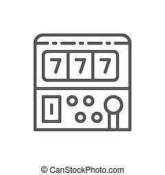 Slot machine game line icon.