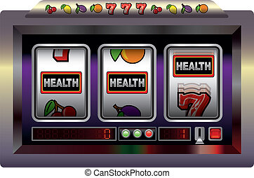 Illustration of a slot machine with three reels, slot machine symbols and the lettering HEALTH. Isolated vector on white background.