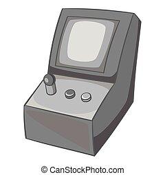 Slot machine icon, black monochrome style