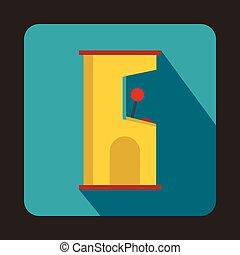 Slot machine icon, flat style
