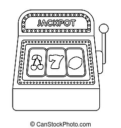 Slot machine icon in outline style isolated on white...