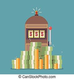 Slot machine jackpot with a lot of money