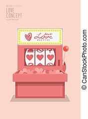 Slot machine love prediction flat vector.
