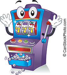 Mascot Illustration Featuring a Slot Machine Hitting the Jackpot