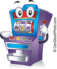 Mascot Illustration Featuring a Slot Machine