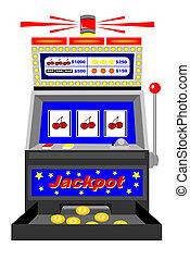 Slot machine - A winning slot machine with triple cherries