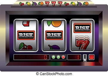 Slot Machine Risk - Illustration of a slot machine with...