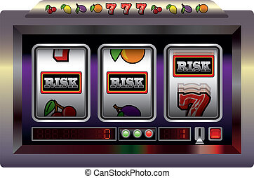 Slot Machine Risk - Illustration of a slot machine with...
