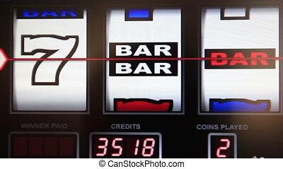 slot machine series, big wining jackpot blue seven