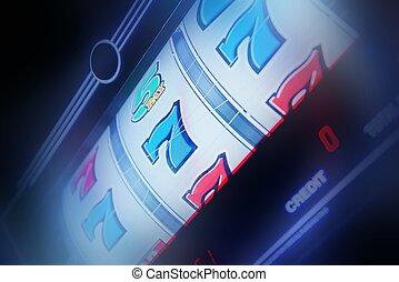 Slot Machine Spin Concept Photo. Slot Machine Closeup....