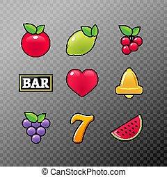 Slot machine symbols icons set. Casino gambling slot machine icons of fruit lemon seven bell