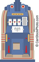 Slot machine The Silent Bell. Retro gambling casino item. Vector illustration.